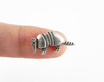 12 Armadillo Beads - Antiqued Silver - 9mm x 20mm - Vertical Hole