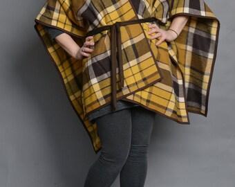 Vintage Yellow Plaid Wool Blanket Coat