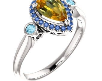 Montana Sapphire Engagement Ring with Sapphire Halo; Genuine Pear Sapphire, Solid 14k Rose, White, or Yellow Real Gold & Blue Diamonds