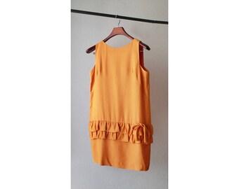 1960s Mustard Drop Waist Dress