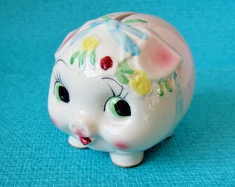 Kitsch Vintage Piggy Bank - 1960s Cute Ceramic Pig with Flowers and Bow - Bond Ware Made in Japan