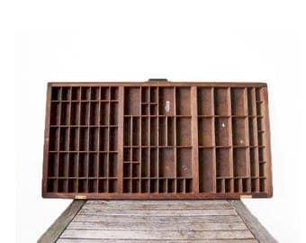 Vintage Printer's Drawer - Hamilton Rustic Wood Letterpress Tray - Antique Display Rack - Letterpress Case - Wooden Shadow Box - Large