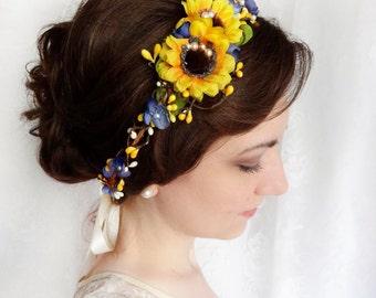 sunflower crown, sunflower wedding, sunflower headband, yellow flower crown, rustic flower crown, yellow and blue flower crown, gold pearls