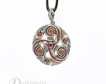 Fiery forest triskele - Celtic inspired silver pendant with garnet and oak leaves, limited collection, fire, sunset