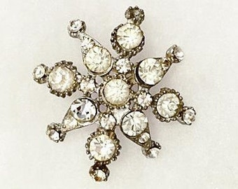 Vintage 1940s 1950s Rhinestone Brooch Pin 40s 50s Snowflake Brooch Pot Metal with round, Pear or teardrop Shape Stones Hat Decoration