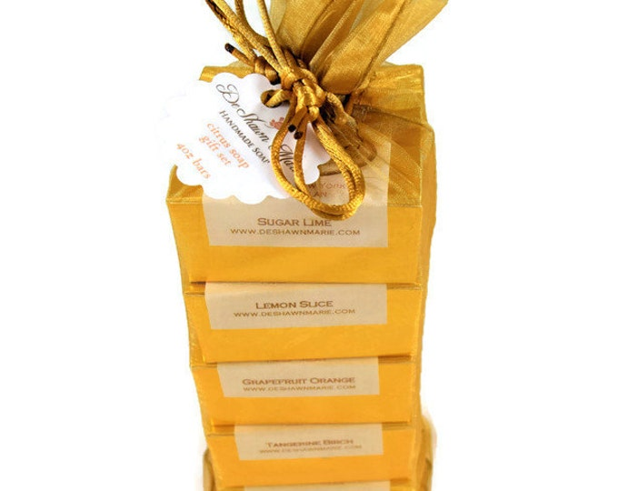 Soap Gift -  Citrus Lover's Soap gift set - soap gift bag - 5 soap vegan gift set