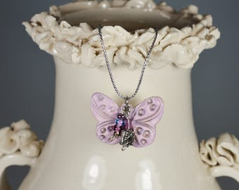 Necklace Pink Lavender Butterfly Ceramic Pendant Crystals