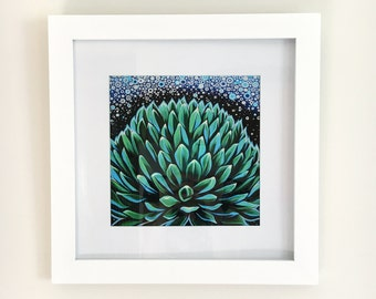 "Print of original painting ""Plants Will Save the World"" - Botanical print, cactus art, cactus print, cactus painting, succulent painting"