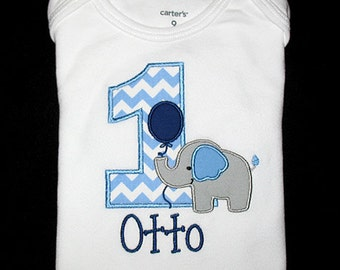 Custom Personalized Applique Birthday Number ELEPHANT with BALLOON and NAME Shirt or Bodysuit - Light Blue Chevron Stripe, Navy, and Gray