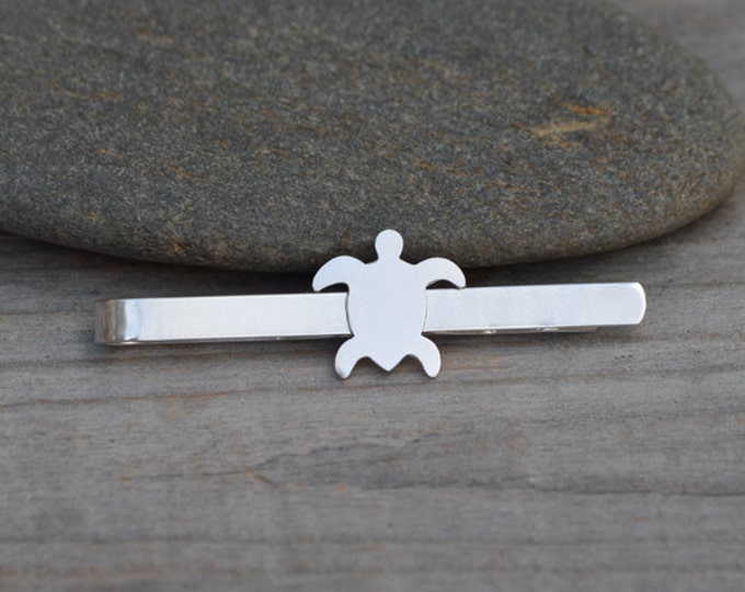 Sea Turtle Tie Clip In Solid Sterling Silver, Wedding Tie Clip, Personlized Tie Clip, Handmade Gift For Man