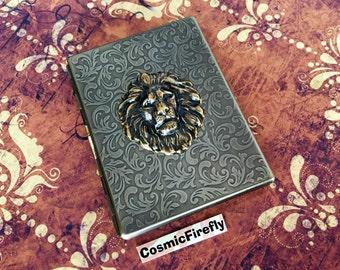 Slim Lion Cigarette Case Antiqued Brass Steampunk Case Brass Lion Head Large Card Holder Gothic Victorian Steampunk Smoking Accessories