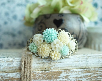 Cream and Mint Wedding, Ivory Mint Blue Flower, Bridal Bracelet, Wedding Jewelry, Rustic Wedding, Vintage Inspired Wedding, Bridesmaid Gift