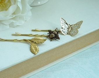 Butterfly Bee Leaf Gold Hair Pins, Gold Bobby Hair Pins, Bridesmaids Gifts, Bridal Hair Pins, Flower Girl Hair Pins, Leaf Hair Pins