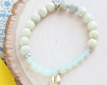Gold Fortune Cookie Bracelet. Good Luck Charm. Inspirational Bracelet. Boho Chic Bracelet. Stacking Bracelets. Meaningful Jewelry