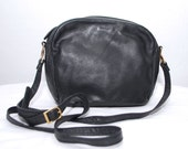 80s 90s PICARD black leather bag. crossbody bag. simple minimalistic purse