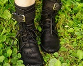 Black Shin High Indie Moccasin With Buckles Hand Stitched Soft Bullhide Leather Upper With A Durable VIBRAM Sole / Renaissance Steampunk