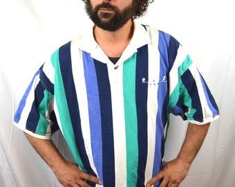 Vintage 80s ENUF Striped Polo Shirt Top