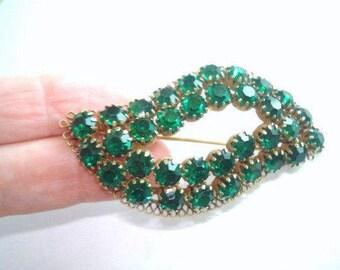 Green Rhinestone Leaf Gold Tone Brooch