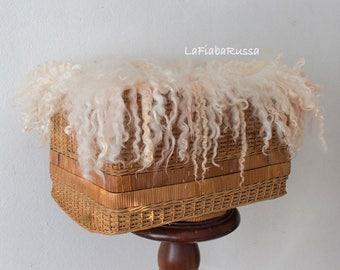 peach wool felt fur newborn rug for newborn props, curly felt fur rug, basket filler, wool fluff, flokati felt layer