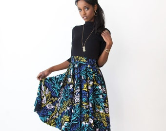 Swing Pocket Skirt - Hand Printed - Organic Cotton - Summer Wedding -Slow Fashion - Wandering Floral in Black - Thief and Bandit®