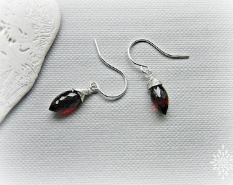 January birthstone, red garnet earrings, petite garnet earrings, garnet silver earrings, garnet drop earrings, garnet dangle earrings