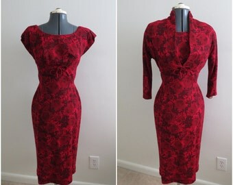 Vintage 1950s Red Rose Slim Dress & Bolero - Womens Bust 34 - Fitted Wiggle Dress