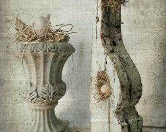 French Nordic Country Cottage Decor. Rustic Chic Antique Corbel. Spring Nest. Industrial no 3. Farmhouse Mantel decor