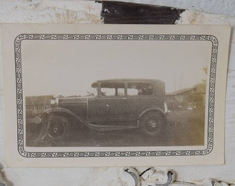 Antique Automobile- 1930s- Black and White Snapshot-Outdoor Photograph- Vintage Car Photo