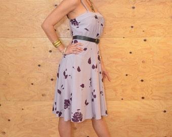 Vintage 70s Lilac & Purple Floral Disco Day Dress Sz Medium