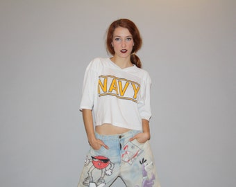 Vintage 80s NAVY White Paper Thin Cropped T Shirt Belly Tops Crop Top  - 1890s Cropped Top  - Vintage 80s Belly Top - W00018