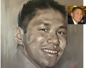 Fine art custom portrait from photo handpainted, 40x40 inch, oil painting on canvas