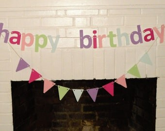 Birthday Banner, Garland, Pastel Happy Birthday Banner, Girl Birthday Banner, Birthday Party Decorations, Photo Prop