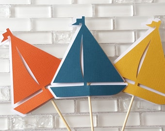 Little Sailboat Centerpiece Set or Table Decor in Teal Blue, Golden Yellow, Orange, and White