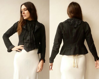 Genuine 1900's Victorian Antique Black Cropped Blazer Jacket With Lace Trim Size XS
