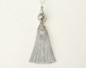 Silver Tassel Necklace, Silk Tassel Necklace, Grey Necklace Tassel, Long Tassel Pendant Necklace, Grey Silk Long Tassel Necklace, For Women
