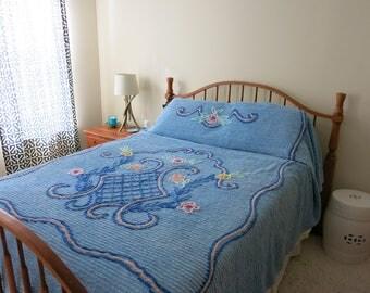 Bedspread CHENILLE floral basket blue pink queen blanket bedcover
