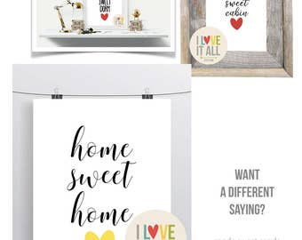 Home Sweet Home . Quote Art Print . Hand lettering Script Home Decor . Minimalist Cottage Modern Graphic Typography . Housewarming New Home