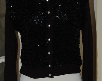 50s Cardigan, Sequins, Orlon, Black, Beaded, Sparkle, Sweater, Mid Century, Size Medium