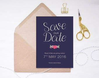 Rhiannon Collection | Printed Save the Date | Floral Invitation | Floral Wedding | Garden Wedding