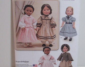 """Doll Clothes Pattern, Simplicity 1391, KeepersDollyDuds, colonial style outfits , fits 18""""  Doll, uncut"""