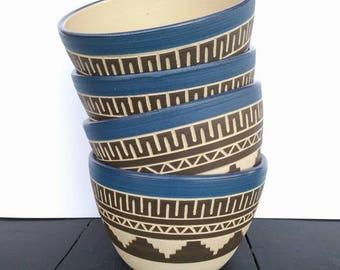 Ceramic bowl soup salad bowl geometric pattern carved pottery personal dish ceramic kitchen dish house styling bohemian bowls aztec pottery