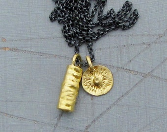 RESERVED  for Monica -24k Solid Gold & Silver Necklace - Gold Pendants on Oxidized Silver Chain - Third Payment