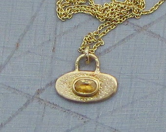 Sapphire Pendant - 14k Solid Gold & Yellow Sapphire Pendant