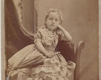 Vintage Young Girl Carte de Visite (CDV) L.W. Felt Photographer, 1800s