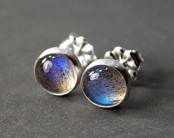 Sterling Silver & Gemstone Stud Earrings, Made to Order