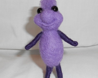Purple Needle Felted Critter Cutie - Percy - Free Shipping to US and Canada