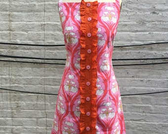 Pink Cotton Print Sheath Dress, size Medium (8)