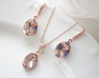 Bridal Jewelry Set, Bridal Earrings, Bridal Necklace, Blush Rose Gold Jewelry, Bridesmaid Jewelry Set, Rose Gold Earrings, Rose Gold Set