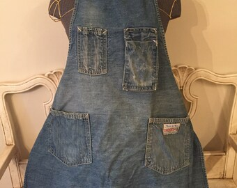 Vintage Carter's Denim Apron - Weathered, Full Length Shop Apron - Watch the Wear