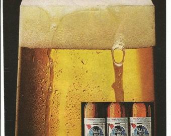 1980 Advertisement Pabst Blue Ribbon PBR Glass Froth Bottle Cold Drinker American Beer Pub Bar Restaurant Wall Art Decor